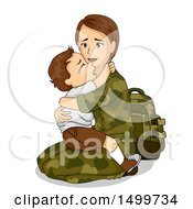 Clipart Of A Military Mother Holding Her Crying Son Before Leaving For War Royalty Free Vector Illustration