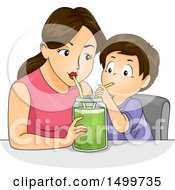 Clipart Of A Mother And Son Using Straws To Drink A Green Smoothie In A Mason Jar Royalty Free Vector Illustration