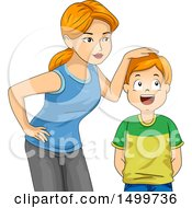 Clipart Of A Mother Measuring Her Sons Height Royalty Free Vector Illustration