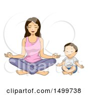 Poster, Art Print Of Mother And Toddler Son Meditating In The Lotus Pose
