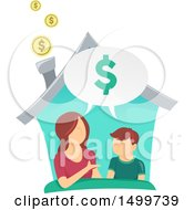 Clipart Of A Mother Teaching Her Son About Finances In Their Home Royalty Free Vector Illustration by BNP Design Studio