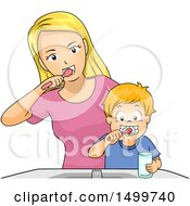 Clipart Of A Mother Showing Her Son How To Brush His Teeth Royalty Free Vector Illustration by BNP Design Studio