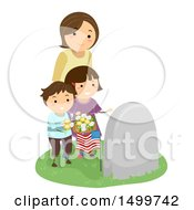 Clipart Of A Widowed Wife And Mother With Her Children At A Grave Royalty Free Vector Illustration by BNP Design Studio