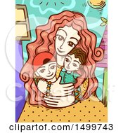 Clipart Of A Loving Mother Embracing Her Children Royalty Free Vector Illustration by BNP Design Studio