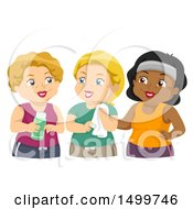 Clipart Of A Group Of Senior Woman In Workout Gear Royalty Free Vector Illustration by BNP Design Studio