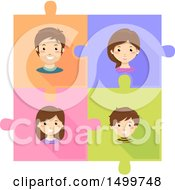 Clipart Of A Family On Connected Jigsaw Puzzle Pieces Royalty Free Vector Illustration
