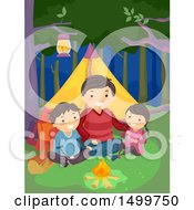 Clipart Of A Father And Children Camping And Sitting By A Fire Royalty Free Vector Illustration by BNP Design Studio