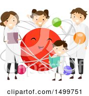 Clipart Of A Science Family Around An Atom Mascot Royalty Free Vector Illustration