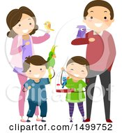 Clipart Of A Family Of Animal Lovers With Their Pet Birds Royalty Free Vector Illustration