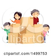Clipart Of A Happy Family With Moving Boxes Royalty Free Vector Illustration