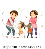 Clipart Of A Happy Family Dancing To Music Royalty Free Vector Illustration