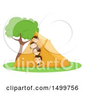 Clipart Of A Happy Family Peeking From A Tent Royalty Free Vector Illustration