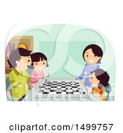 Clipart Of A Happy Family Playing A Game Of Chess Royalty Free Vector Illustration by BNP Design Studio