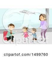 Clipart Of A Happy Family Welcoming Their Dad Home At An Airport Royalty Free Vector Illustration by BNP Design Studio