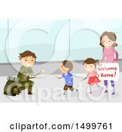 Clipart Of A Happy Family Welcoming Their Military Dad Home At An Airport Royalty Free Vector Illustration by BNP Design Studio