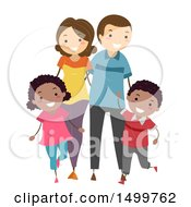 Clipart Of A Happy Adoptive Or Foster Family Royalty Free Vector Illustration