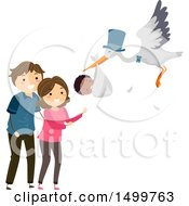 Clipart Of A Stork Delivering An Adopted Baby To Happy Parents Royalty Free Vector Illustration by BNP Design Studio
