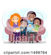 Clipart Of A Happy Family Watching Tv Royalty Free Vector Illustration by BNP Design Studio