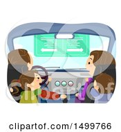 Clipart Of A Family In Their Car Royalty Free Vector Illustration