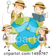 Clipart Of A Family Of Explorers Around Earth Royalty Free Vector Illustration