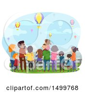 Clipart Of A Rear View Of Families Watching Hot Air Balloons Royalty Free Vector Illustration