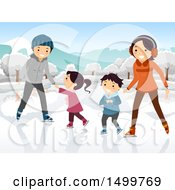 Clipart Of A Happy Family Ice Skating Royalty Free Vector Illustration