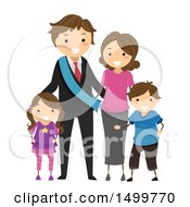 Clipart Of A Happy Political Family Royalty Free Vector Illustration by BNP Design Studio