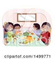 Clipart Of A Happy Family Eating Dinner Royalty Free Vector Illustration by BNP Design Studio
