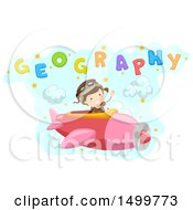 Clipart Of A School Boy Flying An Airplane Under Geography Text Royalty Free Vector Illustration