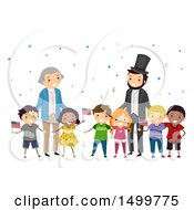 Clipart Of A Group Of Kids With Abraham Lincoln And George Washington Royalty Free Vector Illustration by BNP Design Studio