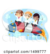 Clipart Of A Group Of Science Kids Riding A Rocket Royalty Free Vector Illustration by BNP Design Studio