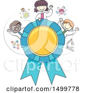 Clipart Of A Sketched Award Ribbon With Science Kids Royalty Free Vector Illustration