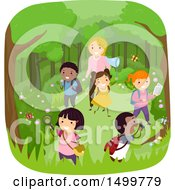 Clipart Of A Teacher And Students Catching Bugs In The Woods Royalty Free Vector Illustration by BNP Design Studio