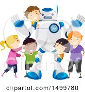 Clipart Of A Robot Doctor With A Group Of Children Royalty Free Vector Illustration by BNP Design Studio