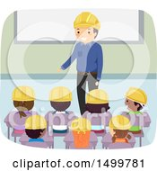 Clipart Of A Parent Sharing His Construction Career Experience With A Class Of Students Royalty Free Vector Illustration by BNP Design Studio