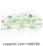 Clipart Of A Sketched Word Nature With Happy Children Faces Royalty Free Vector Illustration