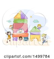Clipart Of A Sketched Group Of Kids Playing On A Block Shapes Playground Royalty Free Vector Illustration
