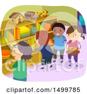 Clipart Of A Group Of Kids Gathering Shape Blocks From Cubbies Royalty Free Vector Illustration
