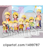 Clipart Of A Group Of School Children And Teachers Visiting A Construction Site Royalty Free Vector Illustration