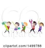 Clipart Of A Group Of Kids Carrying Giant Tools Royalty Free Vector Illustration