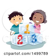 Clipart Of A Boy And Girl With Frozen Numbers Royalty Free Vector Illustration