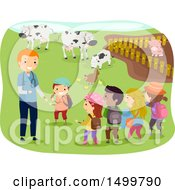 Clipart Of A Veterinarian And Children At A Livestock Farm Royalty Free Vector Illustration