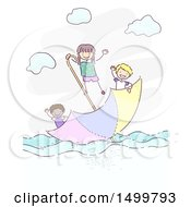 Sketched Group Of Children Floating On An Umbrella