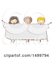 Clipart Of A Sketched Group Of Kids Wearing A Giant Tee Shirt Royalty Free Vector Illustration