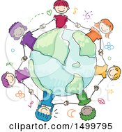 Clipart Of A Sketched Group Of Children Holding Hands Around A Globe Royalty Free Vector Illustration