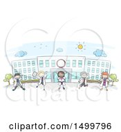 Clipart Of A Sketched Group Of Doctor Children At A Hospital Royalty Free Vector Illustration