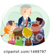 Clipart Of A Senior Military Veteran Surrounded By Children Royalty Free Vector Illustration