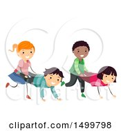 Clipart Of A Group Of Children Doing A Wheelbarrow Race Royalty Free Vector Illustration