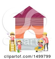 Clipart Of A Group Of Children And Construction Worker Painting Blocks Royalty Free Vector Illustration