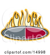 Flames Above An Oval Clipart Illustration by Andy Nortnik